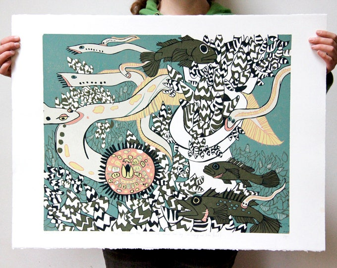 """""""Great Lakes Powder Room"""" original woodcut"""
