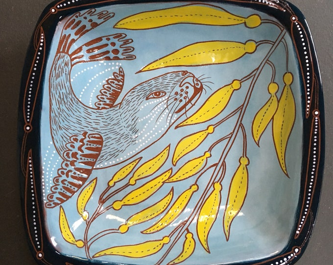 Otter handpainted ceramic bowl, sgraffito carved