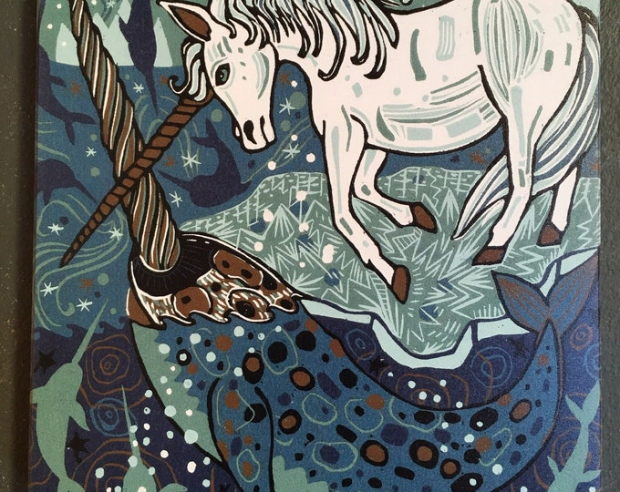 "Pre-order Unicorn, Narwhal, affordable art print on wood, 6"" x 6"" square ready to hang, nursery decor, kitchen d"
