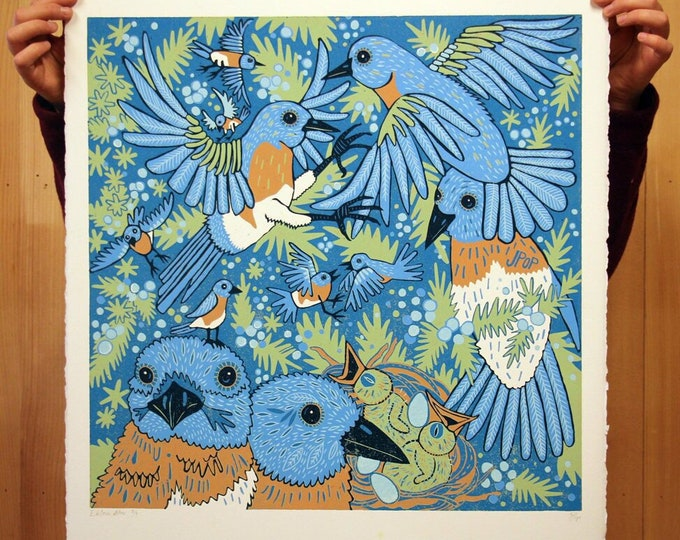 """Eastern Blues"" original bluebird woodcut"