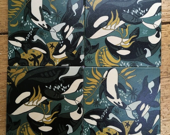 Coaster - wood set, orca, whale, pacific NW,  design by Jenny Pope