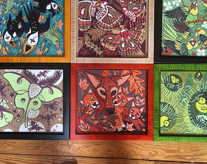 Set of 2 animal, moth, woodcut, blockprints framed with tiger maple allow 4 weeks for delivery