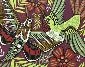 """Hummingbird Namesake"" original woodcut"