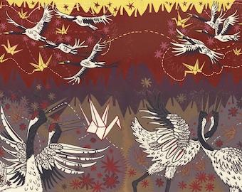 """""""Japanese Cranes Speak of Paper Cranes"""" Original woodcut"""