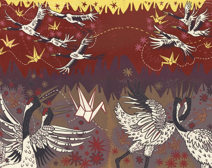 "Payment Plan for, ""Japanese Cranes Speak of Paper Cranes"" Original woodcut"