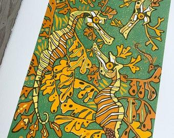 Green Leafy sea dragon, woodcut print, block print, original art by Jenny Pope, modern wall art, contemporary animal art