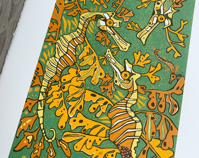 Featured listing image: Green Leafy sea dragon, woodcut print, block print, original art by Jenny Pope, modern wall art, contemporary animal art