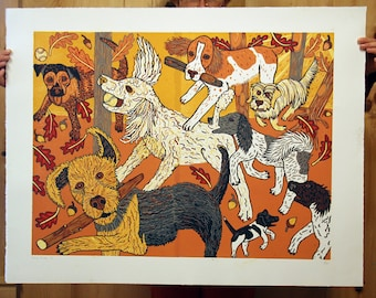 """""""Canine Kinship"""" original woodcut"""