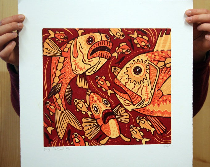 "Payment plan option for, ""Orange Slimehead"" original woodcut"