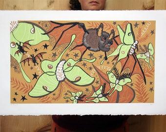 """Bat Decoy"" original woodcut"