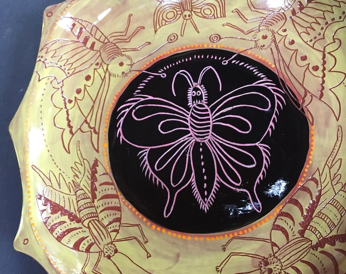 Butterfly Ceramic Platter, unique pottery