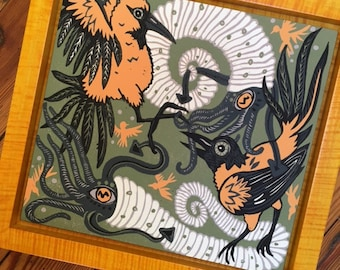 Oriole Ammonite framed in yellow tiger maple woodcut