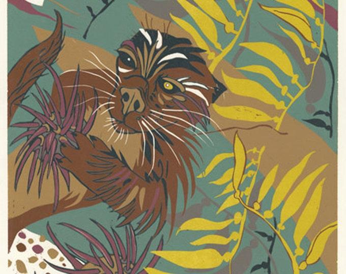 """Impact of Vanishing Sea Lions"" Original woodcut"