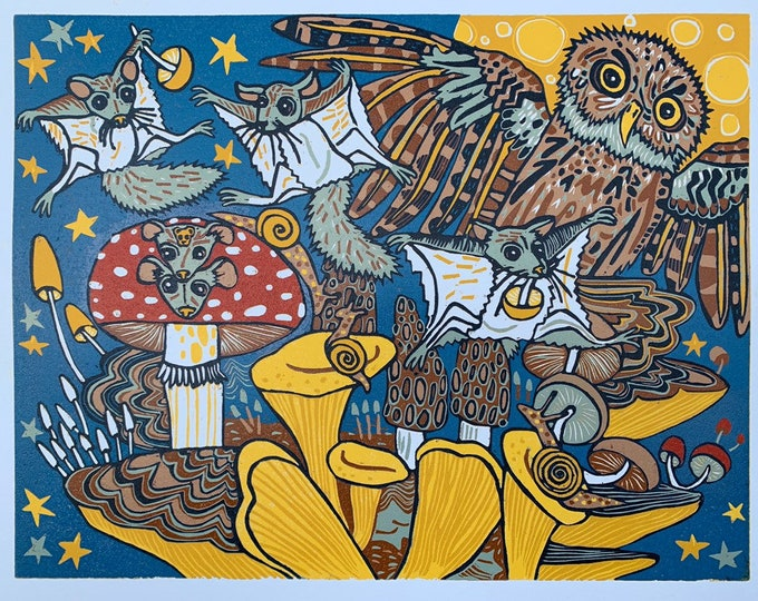 6 month payment plan, Flying Squirrels and mushrooms woodcut print, block print, printmaking, original art by Jenny Pope, modern wall art, c