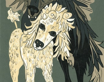 """Wolf + Poodle = Woodle"" original woodcut"