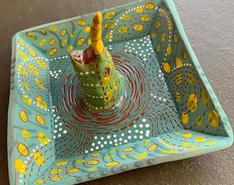 Narwhal handpainted terra cotta ceramic jewelry dish #2