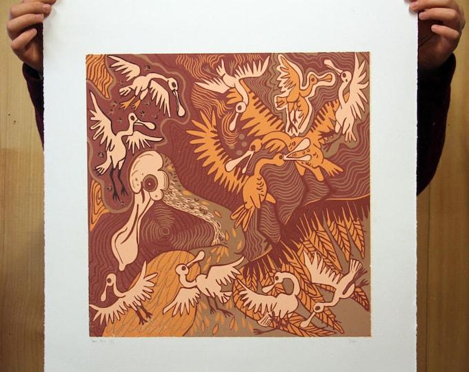 """Spoonbills"" original woodcut"