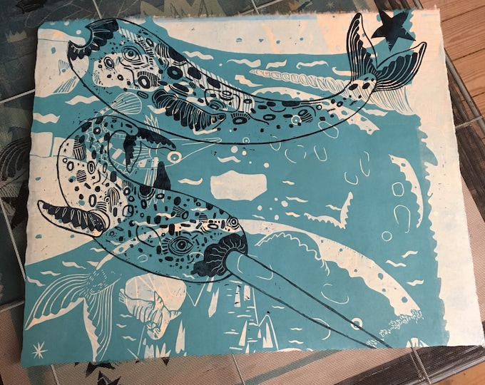 Woodcut, monotype, unicorn, narwhal, block print, OOAK