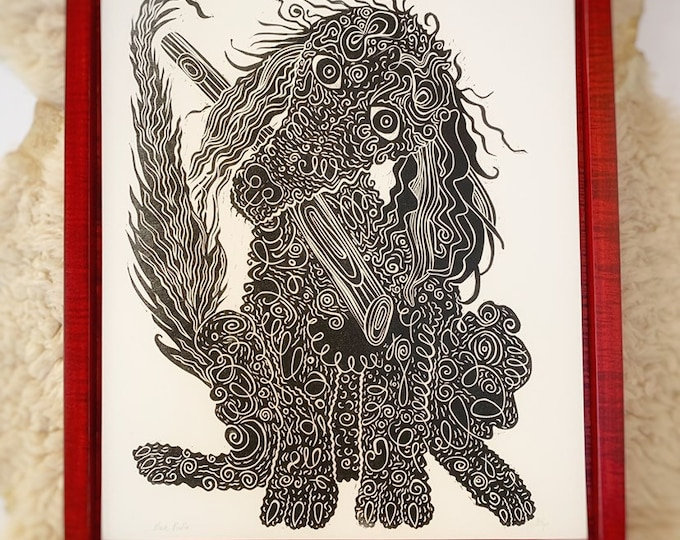 Pre-order, Framed Poodle Art, gold ink, Dog art, woodcut print, block print, original art by Jenny Pope, modern wall art, contemporary anima