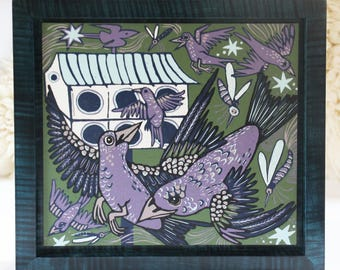 """""""Martin's House"""" woodcut framed in solid tiger maple wood"""