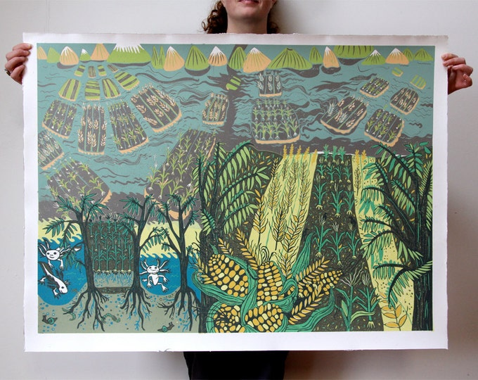 "Payment plan option for, ""Chinampas"" original woodcut"