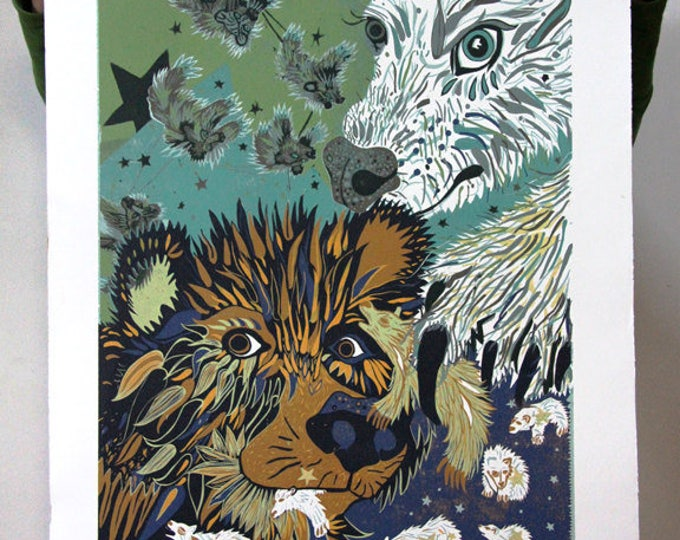 """South of North, the lapping territories of bears"" original woodcut"