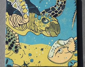 "Sea Turtle, oceanic, affordable art print on wood, 6"" x 6"" square ready to hang, nursery decor, kitchen decor, bathroom art"