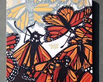 """Monarch Butterfly affordable art print on wood, 6"""" x 6"""" square ready to hang, nursery decor, kitchen decor, bathroom art"""