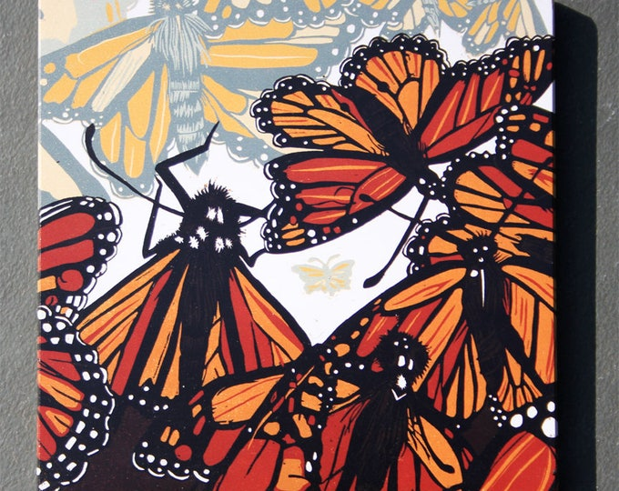 "Monarch Butterfly affordable art print on wood, 6"" x 6"" square ready to hang, nursery decor, kitchen decor, bathroom art"
