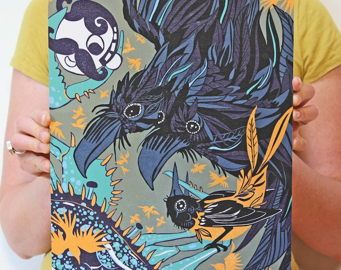 Baltimore Orioles, Ravens, and Blue Crab printed on paper and mounted on bamboo 11x14