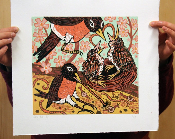 """Early Bird"" original woodcut"