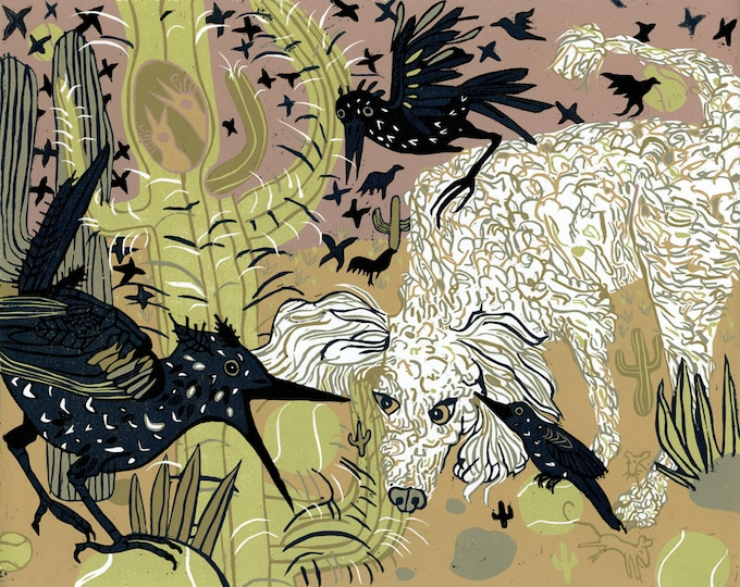 """""""Ellie in the Middle"""" original woodcut"""