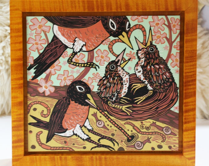 """""""Early Bird"""" woodcut framed in solid tiger maple wood"""