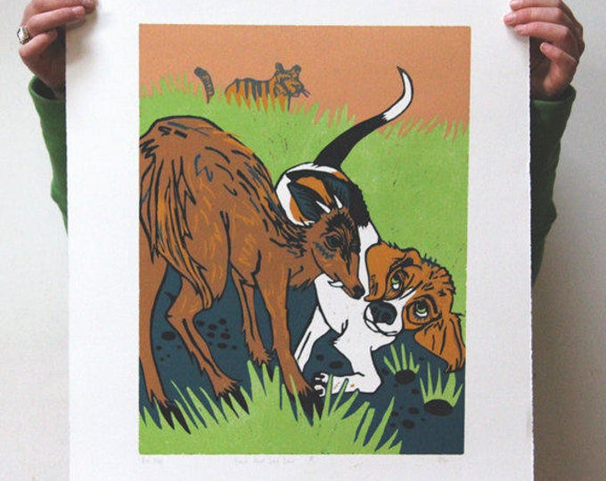 """Beagle Meet Leaf Deer"" original woodcut"