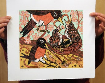 "Payment plan option for, ""Early Bird"" original woodcut"