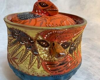 Bird Ceramic Jar, cookie jar, treat jar, handbuilt pottery