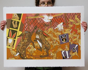 """Magic Rabbit Wildcard"" original woodcut"