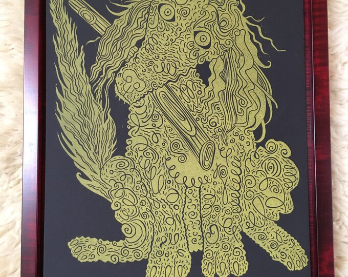 Pre-order, Framed Poodle Art, gold ink, Dog art, woodcut print, block print, original art by Jenny Pope, modern wall art, contemporary anima