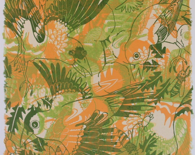 Woodcut monotype OOAK goldfinch and dandelion green and orange wall art