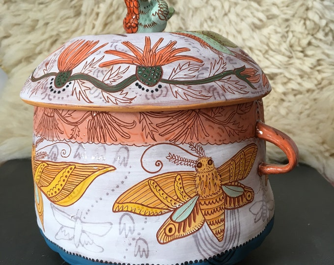 Large hummingbird, moth, Ceramic Jar, cookie jar, treat jar, handbuilt pottery