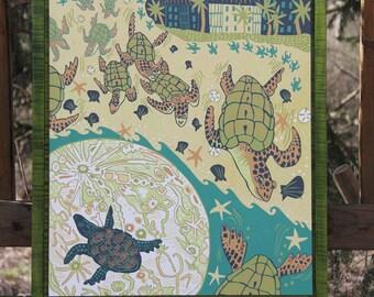 """""""Moonlit Migration"""" framed in green"""