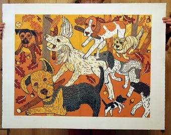 """Payment plan for, """"Canine Kinship"""" original woodcut"""