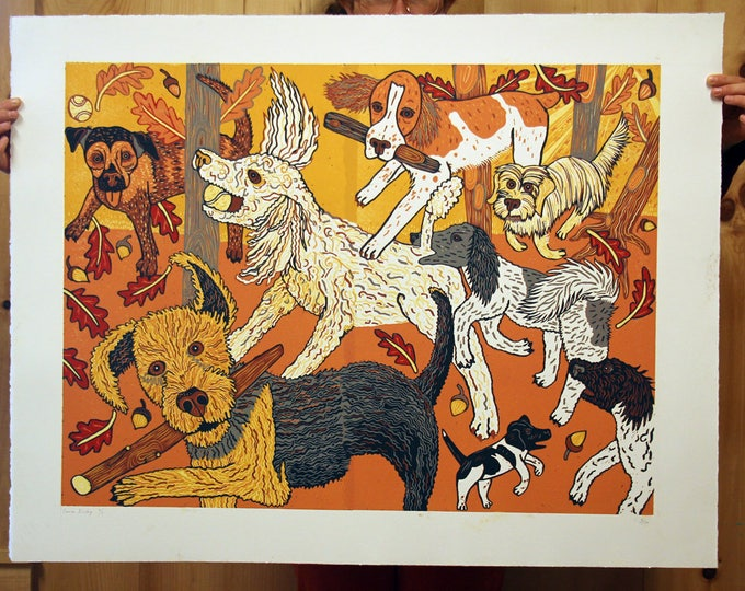 "Payment plan for, ""Canine Kinship"" original woodcut"