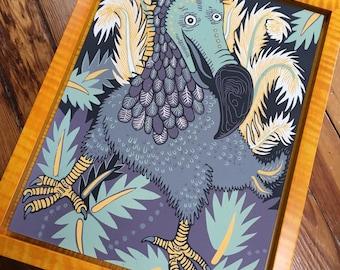 Pre-order Dodo Woodcut Framed in Dark Yellow Tiger Maple