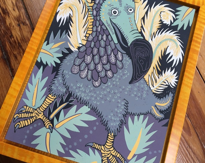 Pre-order Dodo Woodcut Framed in Dark Yellow Tiger Maple