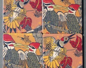 Coaster - wood set, Woodpecker, pileated, flicker, wood coasters, design by Jenny Pope