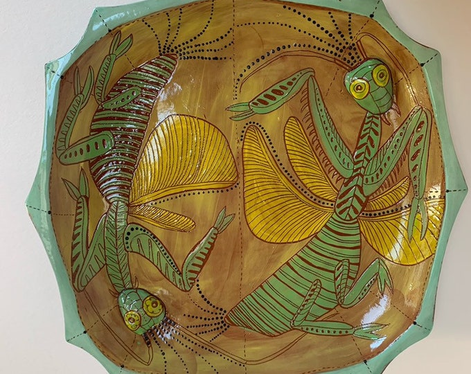 Praying Mantis ceramic platter- handpainted, sgraffito carved, one of a kind