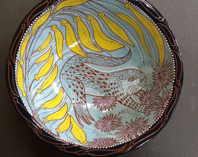 Otter ceramic bowl, handpainted sgraffito carved one of a kind, Fruit bowl