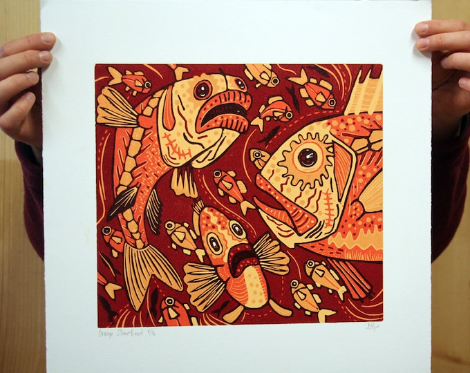 """Orange Slimehead"" original woodcut"