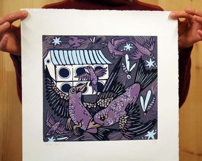 "Payment plan for, ""Martin's House"" original woodcut, purple background"
